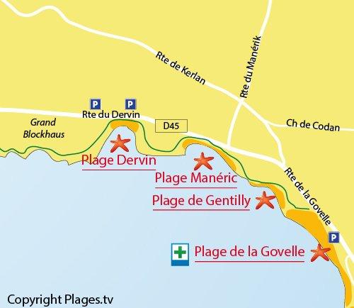 Carte de la plage du Dervin à Batz sur Mer