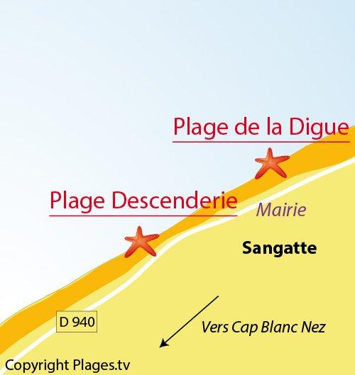 Carte de la plage de la Descenderie à Sangatte