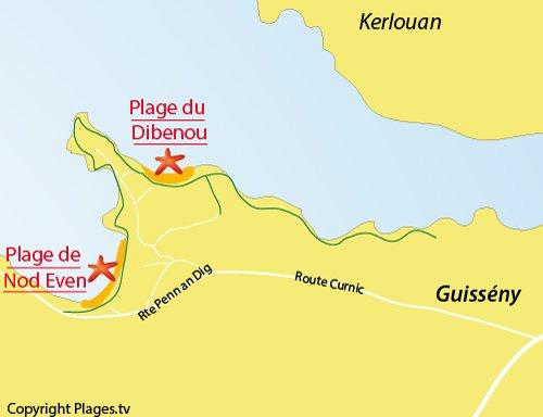 Carte de la plage du Dibenou à Guissény