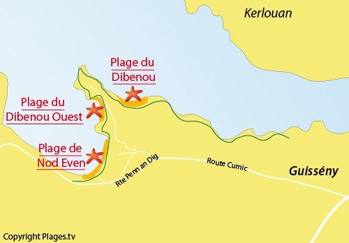 Carte de la plage de Dibennou Ouest à Guissény