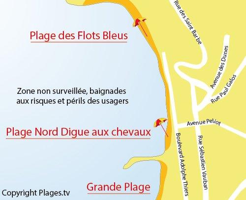 Carte de la plage de la Digue aux Chevaux de St Jean de Luz