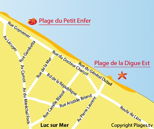 Map of  East Dike Beach in Luc sur Mer