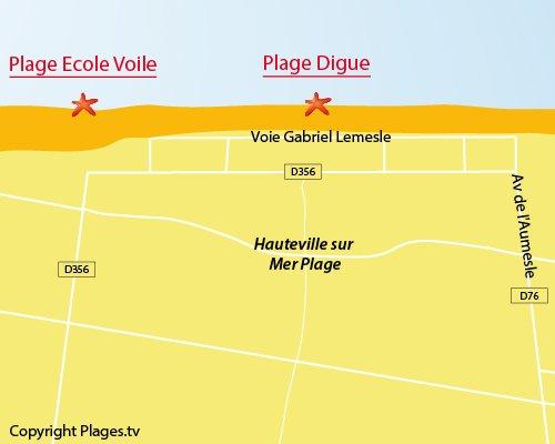 Carte de la plage de la Digue à Hauteville sur Mer
