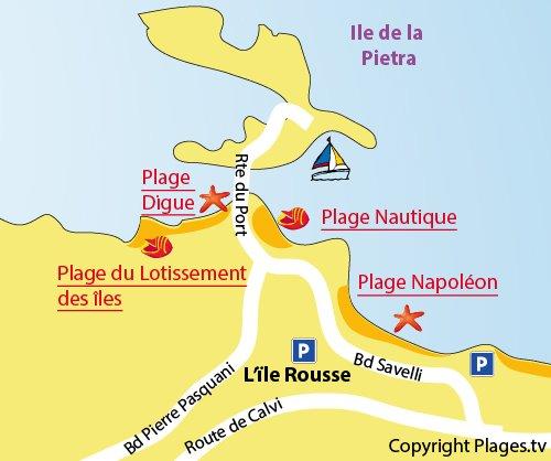 Carte de la plage de la Digue à Ile Rousse