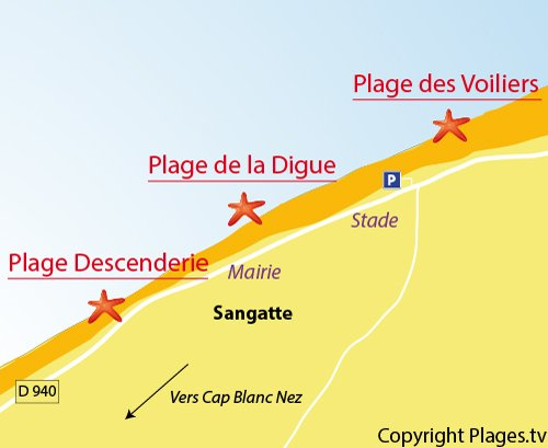 Map of the Digue Beach in Sangatte
