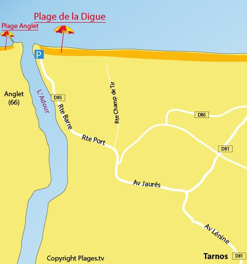 Map of Digue Beach in Tarnos