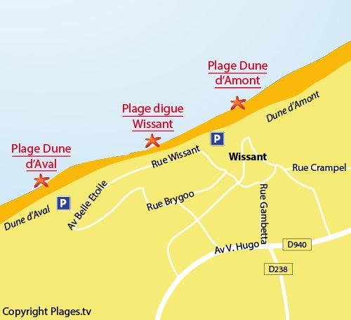 Carte de la plage de la Digue à Wissant
