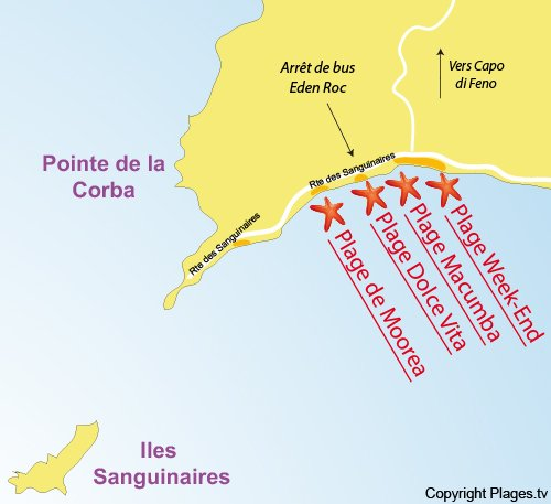 Mappa spiaggia Dolce Vita a Ajaccio