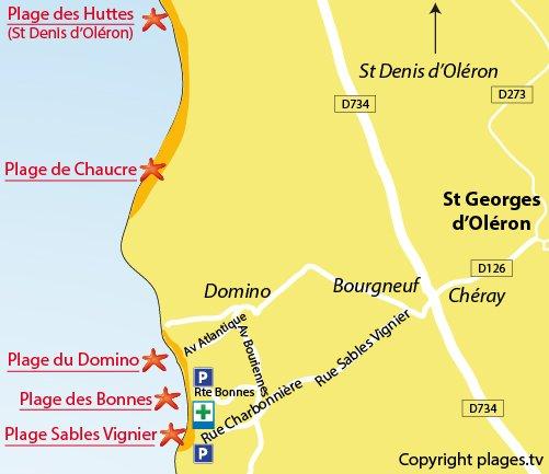 Plan de la plage de Domino sur l'ile d'Oléron