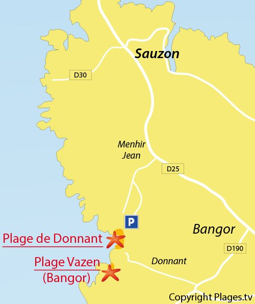 Map of Donnant Beach in Belle Ile en mer