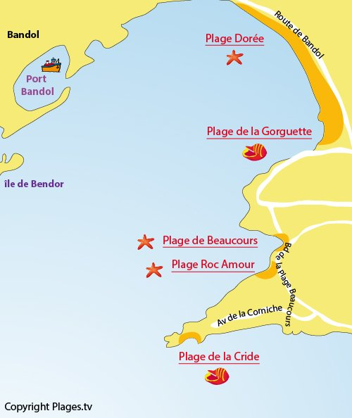 Map of Doree Beach in Sanary sur Mer