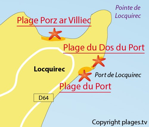 Carte de la plage du Dos du Port à Locquirec