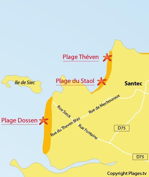 Carte de la plage du Dossen à Santec