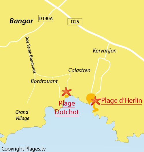 Map of Dotchot Beach in Belle Ile en Mer