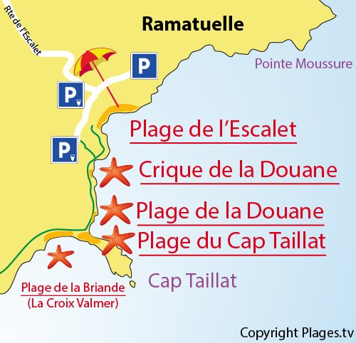 Map of the Douane Beach in Ramatuelle - France