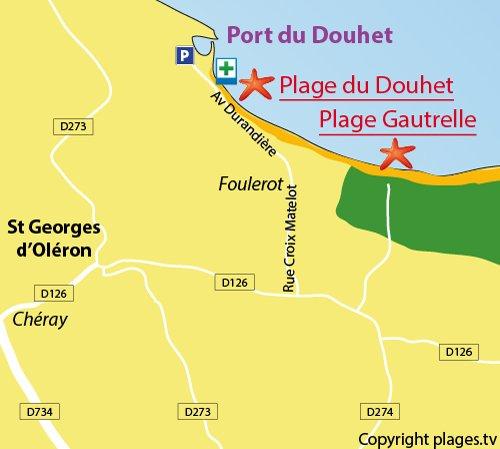 Plan de la plage du Douhet sur l'ile d'Oléron