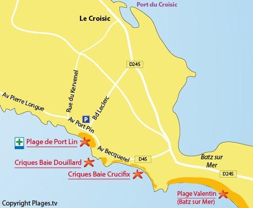 Carte de la plage du Douillard au Croisic