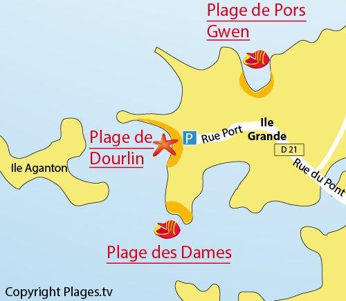 Plan de la plage du Dourlin sur l'Ile Grande (22)