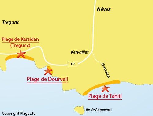 Carte de la plage de Dourveil à Névez