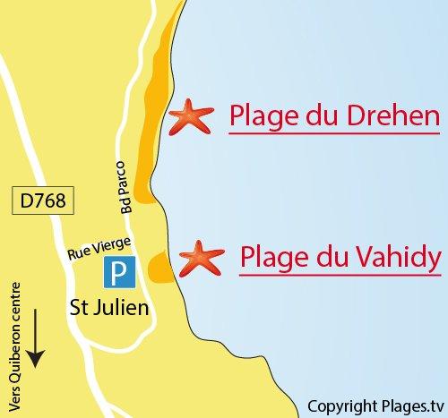 Carte de la plage du Drehen à Quiberon