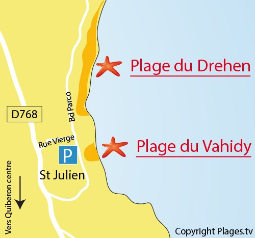 Map of Drehen Beach in Quiberon