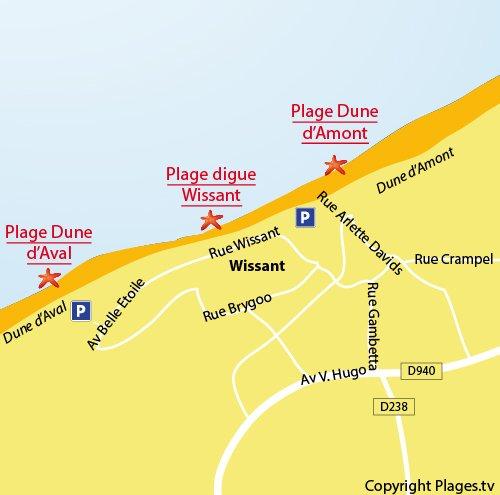 Mappa della Spiaggia della Duna d'Amont a Wissant