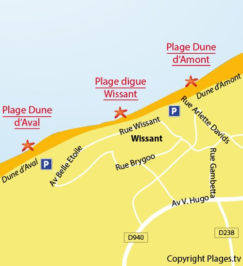 Map of the Aval Beach in Wissant