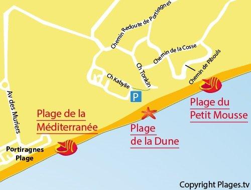 Plan de la plage de la Dune à Vias dans l'Hérault