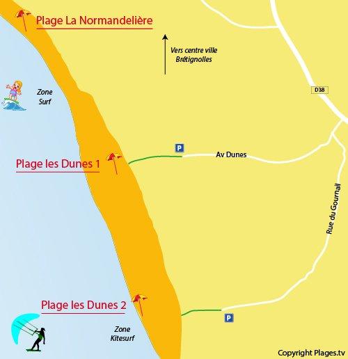 Map of Dune Beach in Brétignolles sur Mer