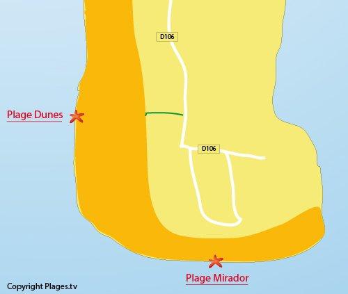 Plan de la plage des Dunes du Cap Ferret