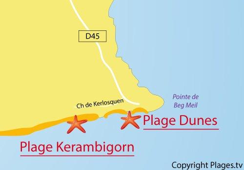 Carte de la plage des Dunes à Fouesnant - Bretagne