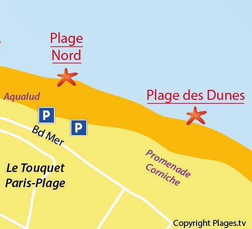 Carte de la plage des Dunes du Touquet