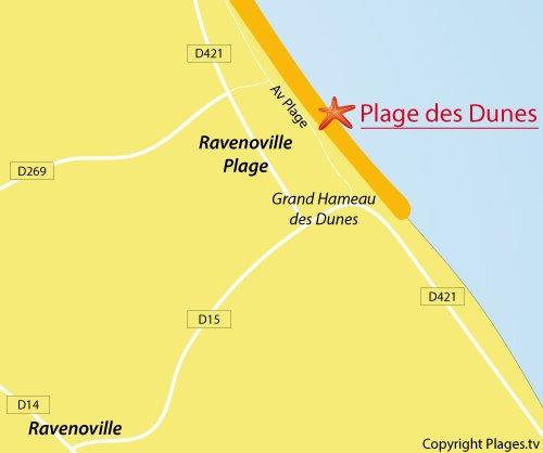 Carte de la plage de Ravenoville - les Dunes