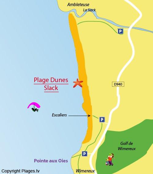 Plan de la plage des Dunes du Slack à Wimereux