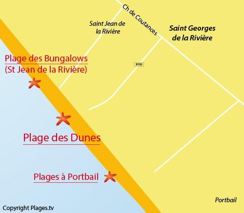 Carte de la plage des Dunes à St Georges de la Rivière