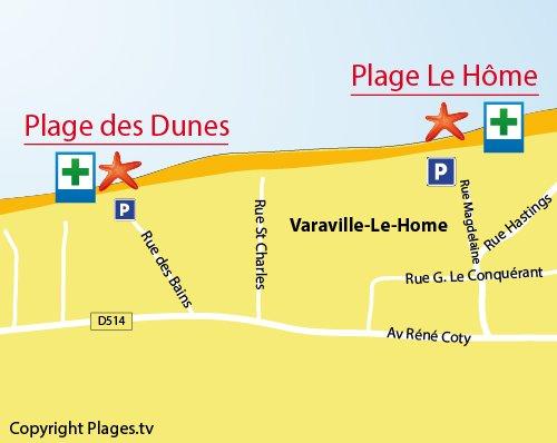 Carte de la plage des Dunes de Varaville