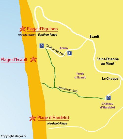 Carte de la plage d'Ecault dans le nord