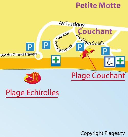 Carte de la plage Echirolles à La Grande Motte