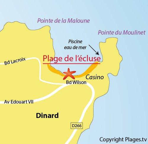 Carte de la plage de l'écluse à Dinard