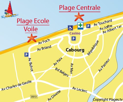 Map of the Ecole de Voile Beach in Cabourg