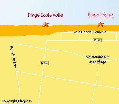 Carte de la plage de l'école de voile d'Hauteville sur Mer