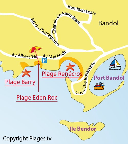 Map of Eden Roc Beach in Bandol