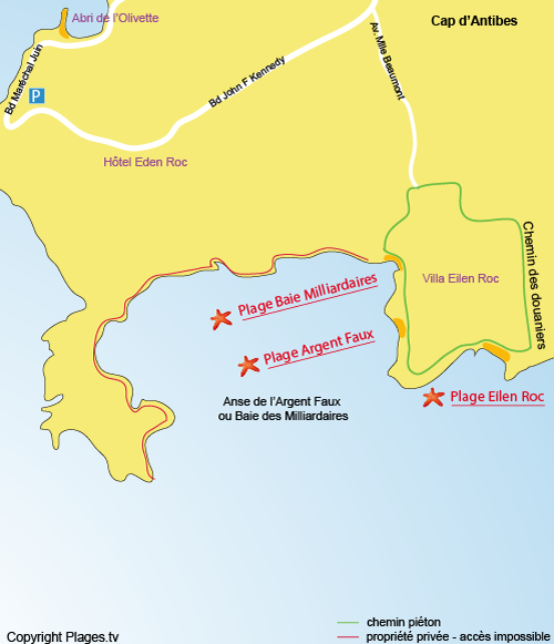 Map of Eilen Roc Beach in Cap d'Antibes