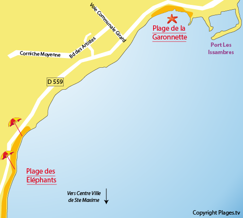 Carte de la plage des Eléphants à Ste Maxime