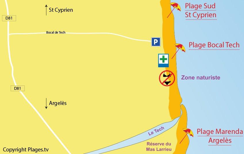 Carte de la plage d'Elne