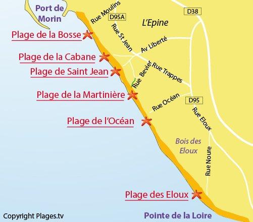 Mappa della Spiaggia degli Eloux a Noirmoutier