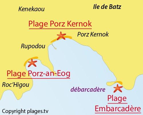 Carte de la plage de l'Embarcadère sur l'ile de Batz