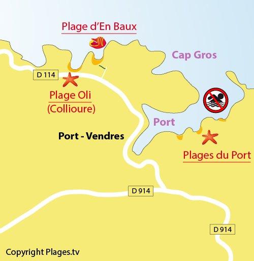 Plan de la plage d'En Baux à Port Vendrès (66)
