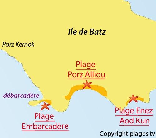 Carte de la plage Enez Aod Kun de Batz