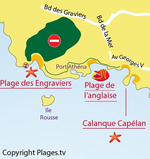Carte de la plage d'Engraviers de Bandol dans le Var